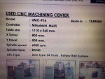 CNC MACHINING CENTER UMC TAIWAN TEBLE1110X5600mm X900 Y500 Z500 BT40 6000RPM 24TOOL พร้อมใช้งาน540,000บาท LINEID yoye529